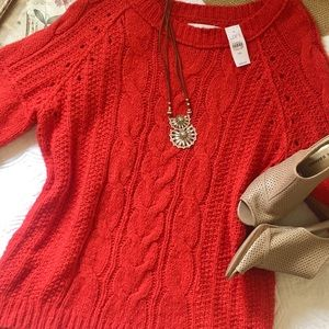 NWT LOFT orange loose knit sweater
